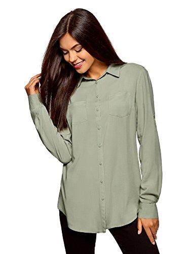 oodji Ultra Damen Bluse mit Brusttaschen und Verstellbaren Ärmeln, Grün, DE 36/EU 38/S