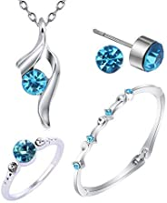 Necklace and earring and bracelet-jewelry set for women Swarovski Elements Necklace 18K White Gold Plated Metal 4 pcs Neckla
