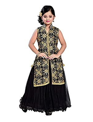 CartyShop Girl's Embroidery Dark black Jacket Style Anarkali Flared ReadyMade Latest PartyWear Gown Dresses