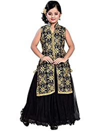 9bdb26a9118 CartyShop Girl s Embroidery Dark black Jacket Style Anarkali Flared  ReadyMade Latest PartyWear Gown Dresses