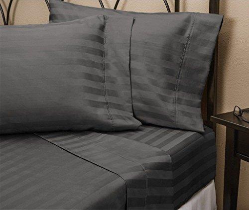 Kissenbezüge, Fadenzahl 400, 100% Baumwolle, Satin-Gewebe mit 10,2 cm Saum, 2 Stück Standard Stripe dunkelgrau -