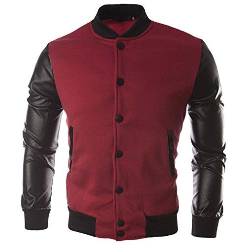 Panegy - Chaqueta Colegio Uniforme Sudadera para Béisbol Jacket Baseboll Ropa Hombre de Abrigo Coat College Cazadora Casual Ocasional con Botón - Rojo - Talla XL