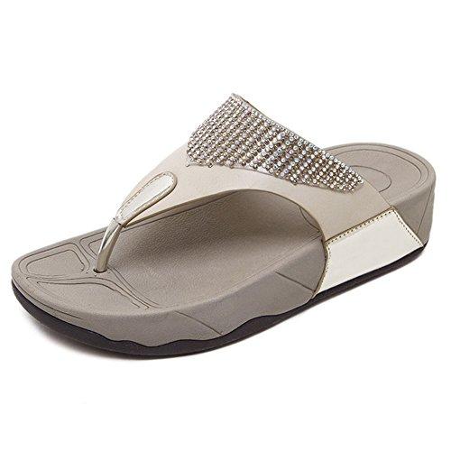DCRYWRX Damen Sandalen Strass mit Niedrigen Keil Sandalen Keile Schuhe Zehentrenner Sandalen Lässig Rutschfeste Flip-Plattform Sandalen,Gold,36 - Sandalen, Weiß Niedrigen Keil