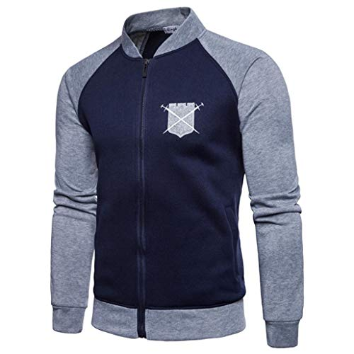 Herren Splicing Pullover Long Sleeve Hooded Sweatshirt Tops Blouse- Oversize Oberteil -Jumper Oberteile-Slim Fit Halfzip Jacke-Basic Kapuzenpullover - Baumwollmischung Outwear(Navy ,L)
