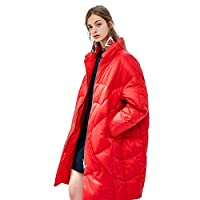 Fashion Mid-Length Women's Down Jacket, opstaande kraag Losse elastische boord Verdikte Warm Winter Solid Color Puffer Coat 90% White Duck Down Jacket,Red