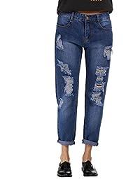 WanYang Mujeres Denim Cintura Alta Largos Elásticos Pantalones Skinny Rasgados Jeans Jeans Pantalones Leggings