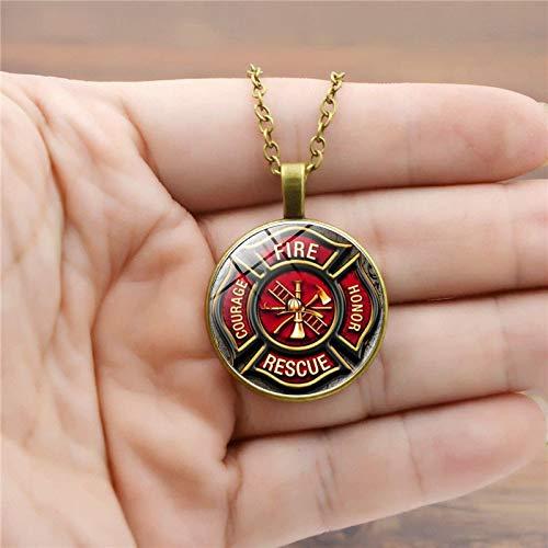 Rescue Firefighter Halskette Feuerwehrmann Anhänger Feuerwehrmann Schmuck Feuerwehr Anhänger Halskette Glas Cabochon Silber Jewery