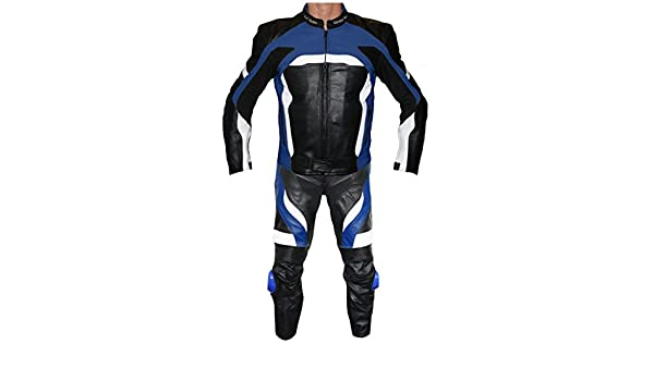 German Wear 2-teiler Motorradkombi Biker lederkombi aus Rindsleder Schwarz//Blau Gr/ö/ße:60