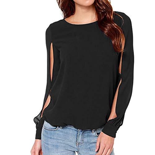 Haughtily Frauen Manschetten Split Chiffon Plus Size Tops Rundhals Langarm einfarbig lässig Büroarbeit Bluse Shirts -