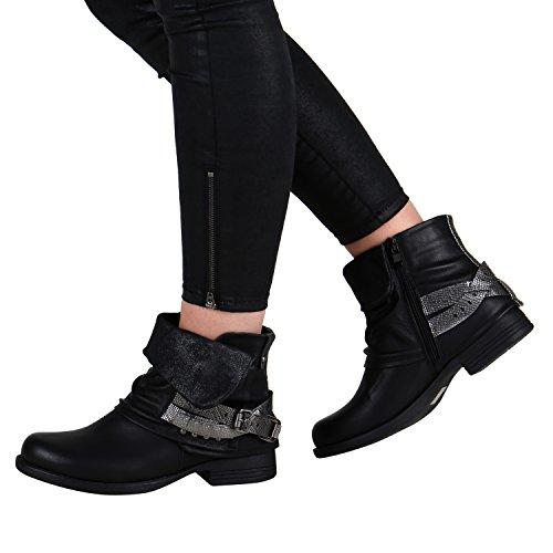 Damen Stiefeletten | Biker Boots Schnallen Nieten | Knöchelhohe Stiefel Leder-Optik Schwarz Silber