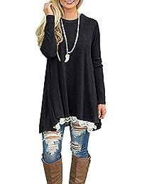 b95fa89a170 NICIAS Womens Lace Casual Long Sleeve Tunic Tops Loose Blouse T Shirt