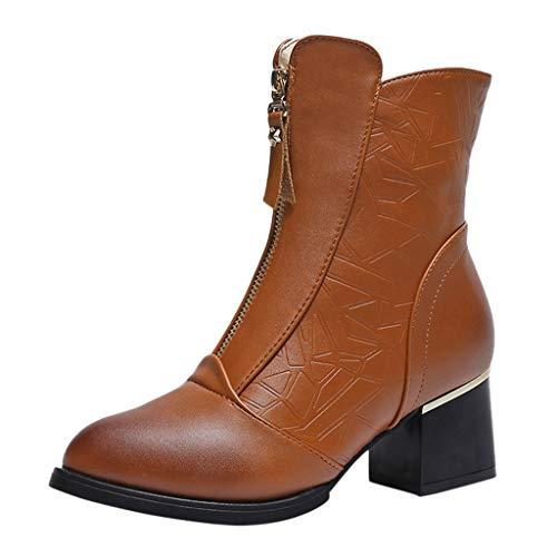 serliyStiefeletten Damen,Frauen Kurzschaft Stiefel Mode Blockabsatz Hochhackig Reißverschluss Schuhe Runder Zeh Herbstschuhe Freizeitschuhe -