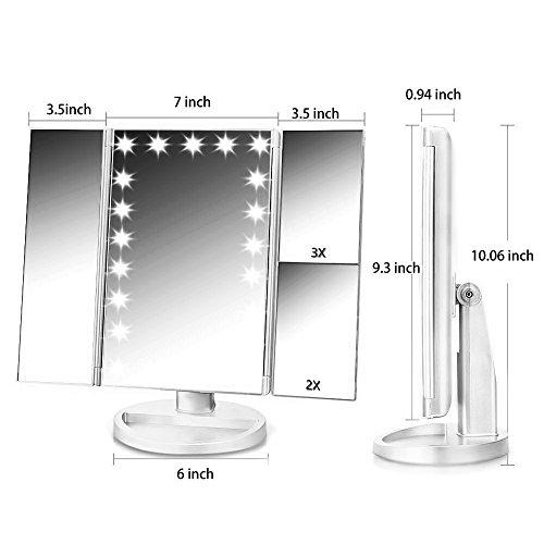 confronta il prezzo Specchio Trucco NaCot Specchio Cosmetico Illuminato Touch Screen di trifold Ingrandimento 1X 2X 3X 10X con 21 LED 180 Gradi Girevole Ideale per Viaggio Lavoro Trucco miglior prezzo
