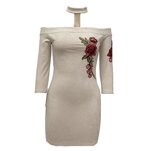QIYUN.Z Femme 3/4 Manche Broderie Fleur Bodycon Bretelles Wiggle Mini Robe De Soirée Abricot