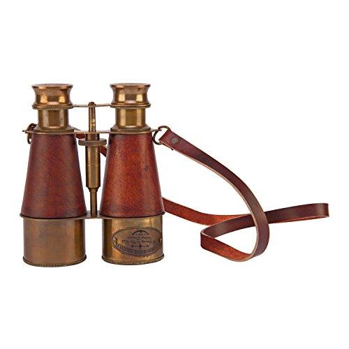 Royal Marines prismáticos de 1915de estilo victoriano latón–prismáticos de colección, color: gris con funda de piel sintética | náuticos | de regalo antiguo | Vintage | funcional | espía