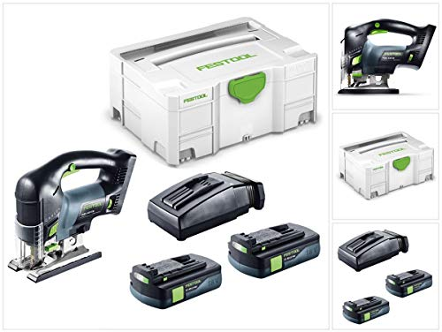 Festool PSBC 420Li EB Basic Sierra de calar recargable colgante en Systainer + 2x BP 18Li 3,1Ah Batería Pack + TCL 6Li-Ion cargador rápido