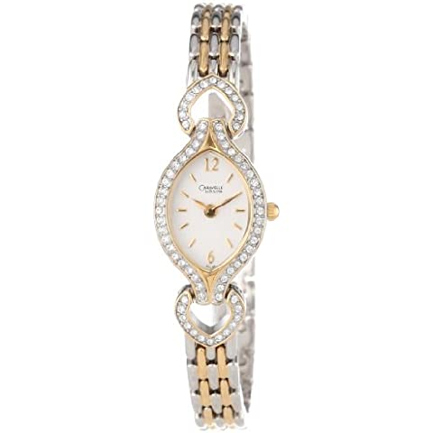 Caravelle by Bulova Donna 45L96 Swarovski Crystal Accented White Dial Orologio