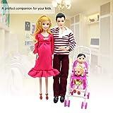 FairytaleMM 5 Personnes poupées Costume Enceinte poupée Famille Maman + Papa + bébé Fils + 2 Enfants + Landau Cadeau Jouets Enfants Jouets Enfants Jouets, au Hasard