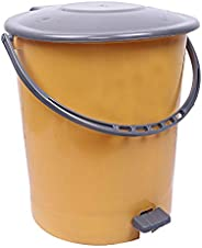 Kuber Industries Plastic Dustbin Garbage Bin with Handle, 10 Liters (Yellow & Grey) -CTKTC02
