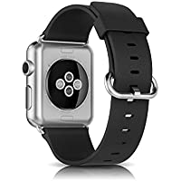 Apple Watch Strap - Trop Saint® Genuine Leather Band with Stainless Steel Closure Replacement Bracelet for Apple Watch (42mm) All Models - Litchi - Black