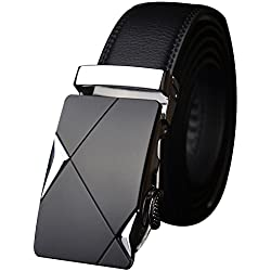 Rrimin Black Automatic Buckle Belts Fashion Waist Strap Belt Waistband for Men