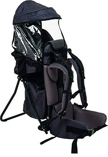 Fillikid Babytrage Rückentrage Exclusiv | Rücken Babytrage mit Sonnenschutz & großen Staufächern | Kraxe zum Wandern mit Baby und Kleinkind | Tragesitz bis 20 kg, Design:grau