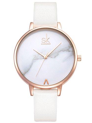 Alienwork Armbanduhr Damen Uhr Kunstleder Armband Lederband weiss Analog Quarz Damenuhr Mädchen rose gold Wasserdicht Ultra-flach dünn elegant Klassik