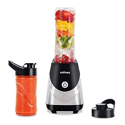 Mixer-Standmixer-CUSIMAX-Smoothie-Maker-250W-Multifunktionsmixer-Highspeed-Standmixer-mit-2-Tragbarer-BPA-freie-Smoothie-Flaschen-Mini-Standmixer-fr-Smoothie-Saft-Milchshake-Edelstahl-schwarz