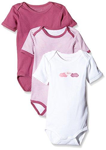NAME IT Baby-Mädchen Body NITBODY SS M G NOOS, 3er Pack, Gr. 98, Mehrfarbig (Red Violet)
