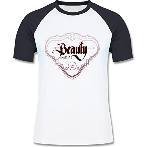 Statement Shirts - Beauty isn´t Makeup - zweifarbiges Baseballshirt für Männer Weiß/Navy Blau