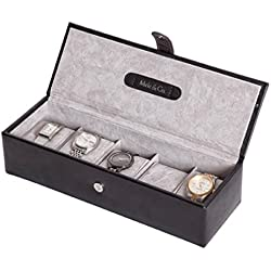 BLACK GENUINE BONDED LEATHER 5 WATCH DISPLAY BOX CASE BY MELE & CO