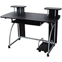 Songmics Computer Desk Table Study Workstation With Sliding Keyboard and Wheels 120 x 59 x 90 cm Black LCD812B