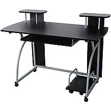 Songmics Escritorio de la Computadora Negro Mesa de Ordenador con Portateclado Moderna Escritorio Compacto para Hogar o Oficina 120 x 59 x 90 cm LCD812B