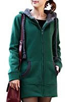 Yasong Women's Girl's Zip Up Long Hoodies Sweatshirt Top Hooded Jumper Jacket Coat