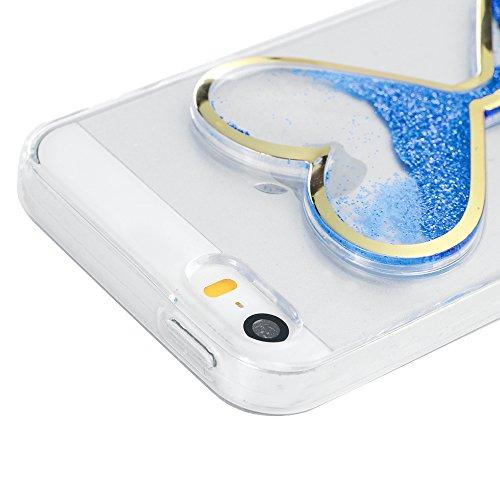 Mavis's Diary Coque iPhone 5 / iPhone 5S / iPhone SE Étui Housse de Protection TPU Silicone Coque Liquide Antichoc Ultra Mince Léger Souple Flexible Portable Douce Phone Case Cover + Chiffon - Bleu