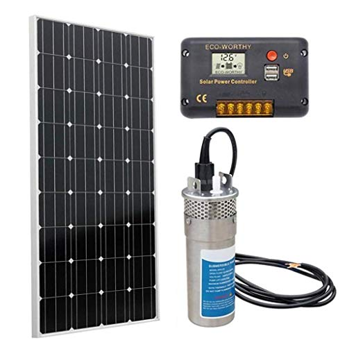 DC HOUSE Solar Water Pump Kit, 12V Submersible Pump + 1pc 160W Solar Panel + 20A Charge Controller for Deep Well Watering - Barbed Port