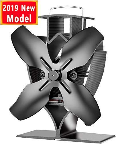Aobosi Ofenventilator für Holz/LOG Brenner/Kamin, Hitze Powered Ofen Fan mit 4 Rotorblätter Kamin und Breite Verbindungsplatte, Leise &Umweltfreundlich