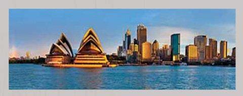 empireposter Shutterstock Sydney Circular Quay Panorama Städte Kunstdruck - Grösse 95x33 cm + Wechselrahmen, Shinsuke® MDF Silber, Acryl-Scheibe