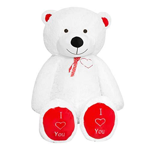 TEDBI Grande Orsacchiotto 200cm | Bianco e Rosso | Gigante Orso di Peluche farcito Giocattolo Bambini Cuore Regalo di Compleanno XXL Teddi Bear con Ricamo Ti Amo