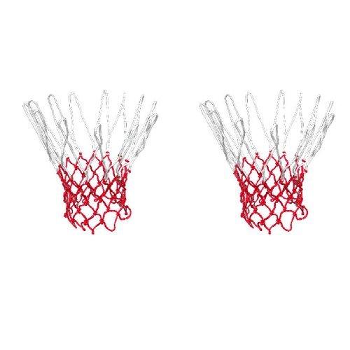 DealMux Nylon Outdoor Indoor Sportspiel Geflochtene Basketball Tornetz 2 PC-Weiß Rot