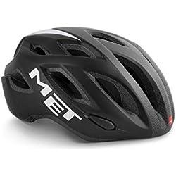 MET Idolo Bicicleta Casco de Bicicleta Comodidad Style MTB Road Bike ventilado Ciclismo LED Luz inmould, 570012, Color Negro Gris, tamaño M