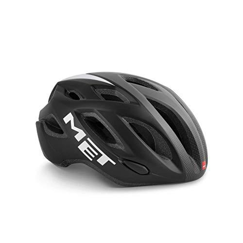 MET Idol Fietshelm Comfort Style MTB Racefiets geventileerde fiets LED licht inmould, 570012, kleur zwart grijs, maat M