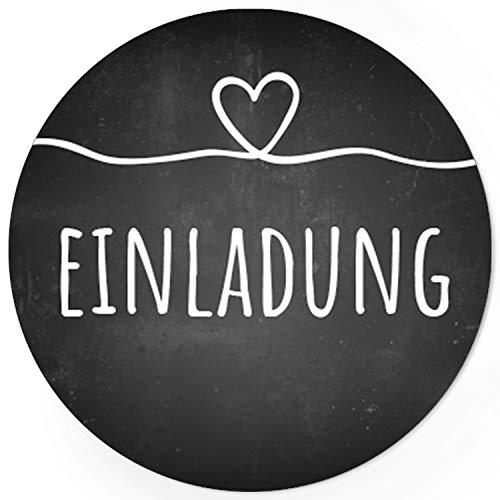 24 runde Design Etiketten - EINLADUNG - Aufkleber passend für Hochzeit, Geburtstag, Feier - Motiv: Tafel-Look mit Herz