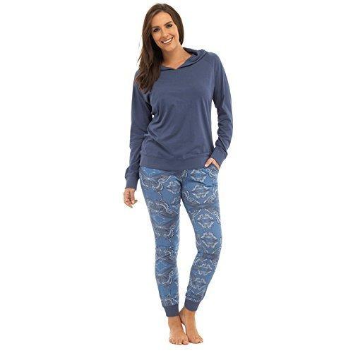 Femmes À Capuche Imprimé Papillon Pull-over Set Pyjama Taille 36-38-40-42 16 18 LN381 Bleu