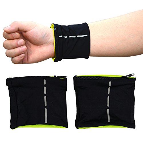 Brave Pioneer Handgelenk Schweißband Sport Fitness Armband Handgelenk Tasche Armtasche Sport Frottee Atmungsaktiv,Doppelter Reißverschluss Motiv geeignet zum Laufen, Fitness, Radfahren 2pc (schwarz)