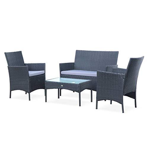 Alice's Garden - Salon de jardin en résine tressée - Moltès - Noir, Coussins gris - 4 places - 1 canapé, 2 fauteuils, une table basse