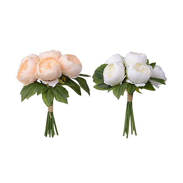 raninnao 6 UNIDS Peonía Artificial De Plástico Seda Flor Simulación Bouquet Arreglos Ramos De Boda Decoraciones Florales…