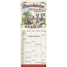 Bauernkalender 2020: Familienplaner - 4 große Spalten mit viel Platz. Hochwertiger Familienkalender mit netten Bildern, Ferienterminen und Vorschau bis März 2021. 19 x 47 cm.