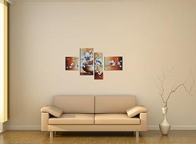 "Bilderdepot24 ""Magnolie Retro"" handgemaltes Leinwandbild 120x70cm 4 teilig 3019"