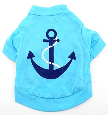SMALLLEE_LUCKY_STORE Pet Small Dog Shirt Anchor Tee Shirts Puppy Clothes Blue Size L